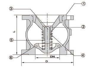 Axial/disc check valve diagram