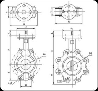 Wafer type butterfly valve with lever diagram