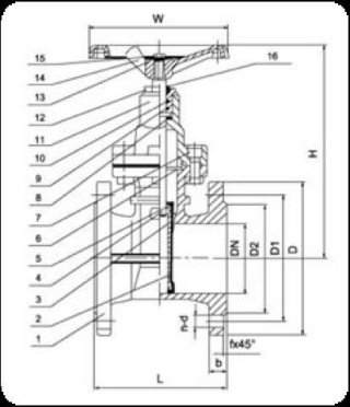 Rubbered wedge flat gate valve diagram