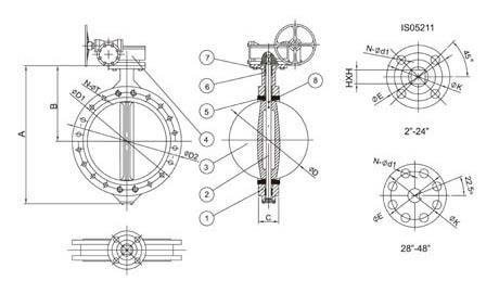 U-section butterfly valve diagram