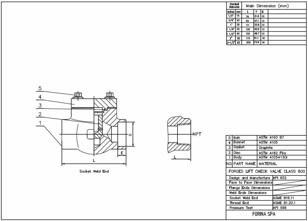 Misure Valvola di ritegno a pistone classe 800 lbs A105N / trim 8