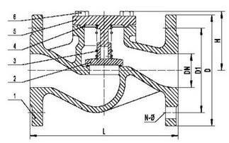 Conveyed flow check valve PN16 diagram
