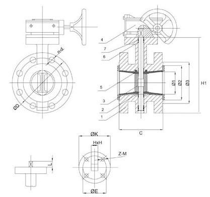 Flanged butterfly valve diagram