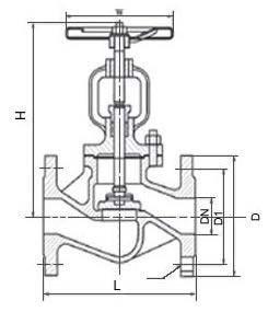Flanged globe valve PN40 diagram