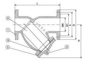 Y-strainer PN16 diagram
