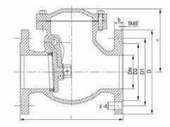 Swing check valve PN16 diagram