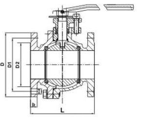 Floating ball valve ASME class 150/300/600 lbs A216 WCB diagram