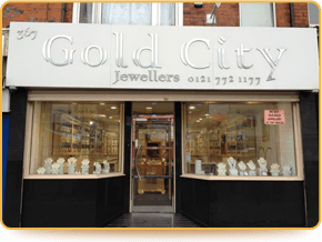 Shop front of Gold City Jewellers in Birmingham
