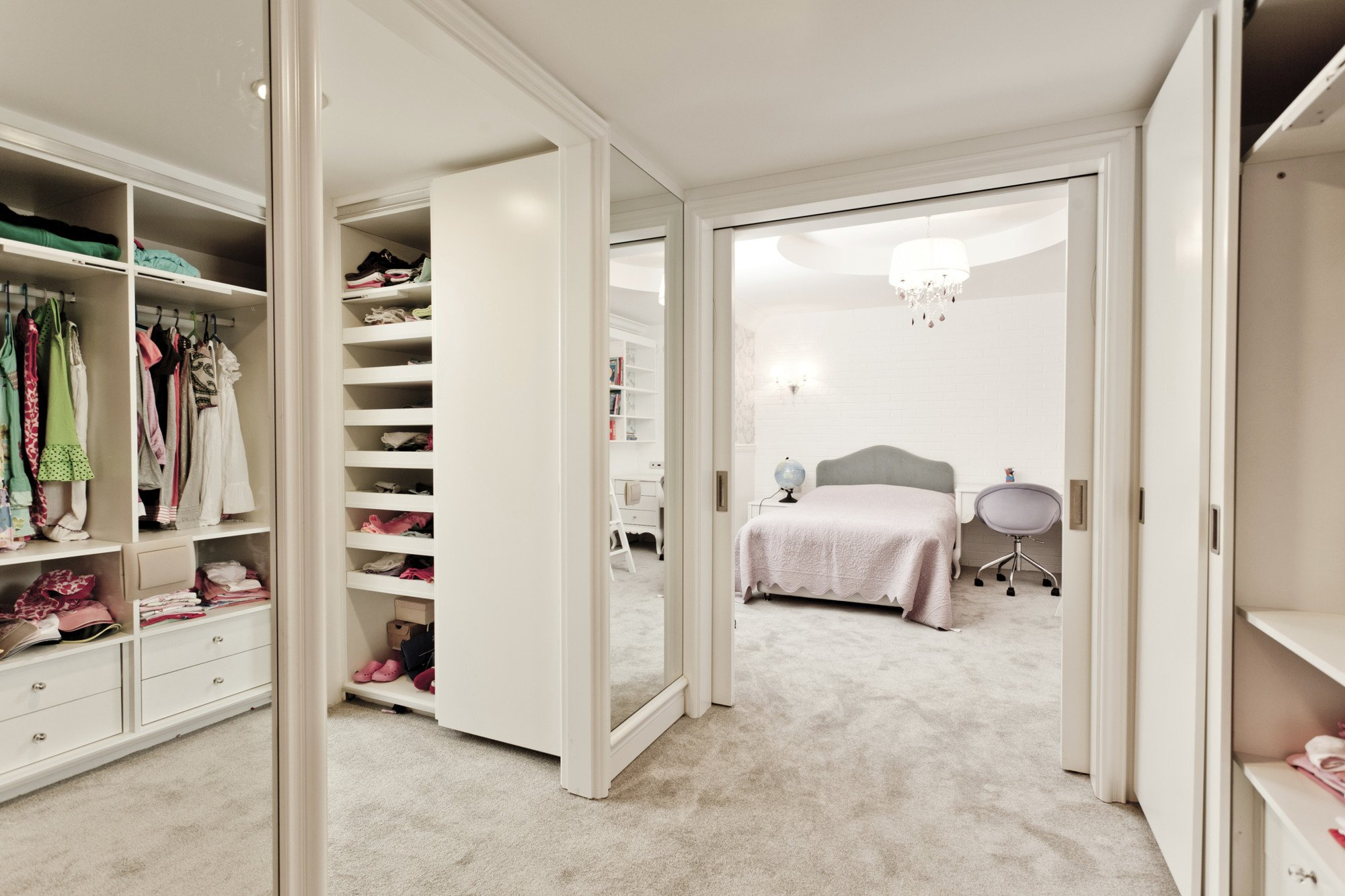Mirrored wardrobe in house