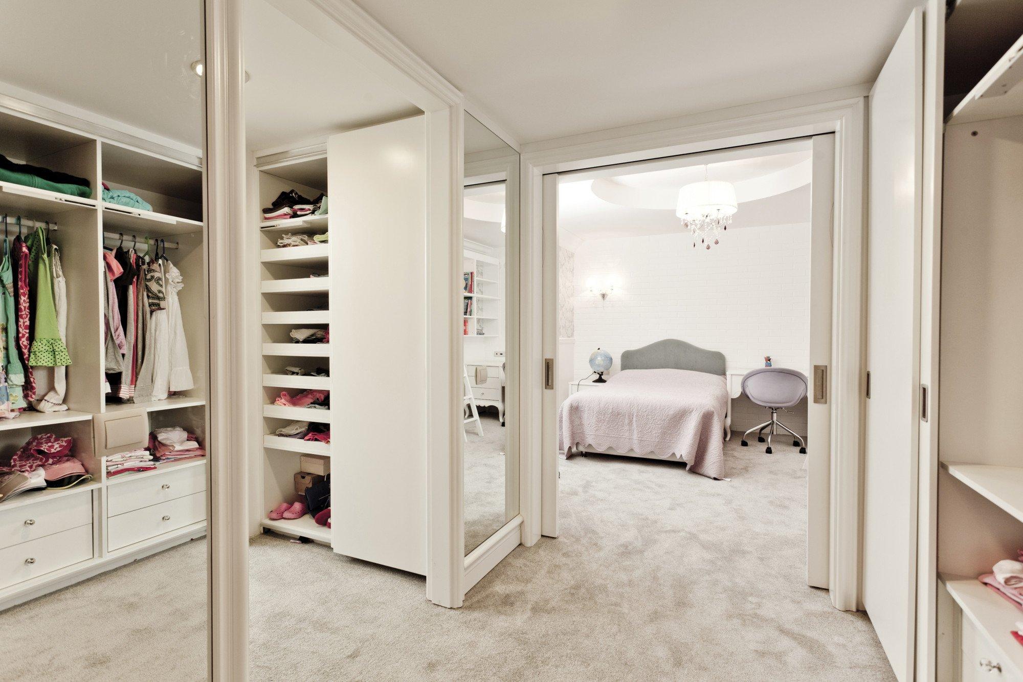 Mirrored wardrobe in house