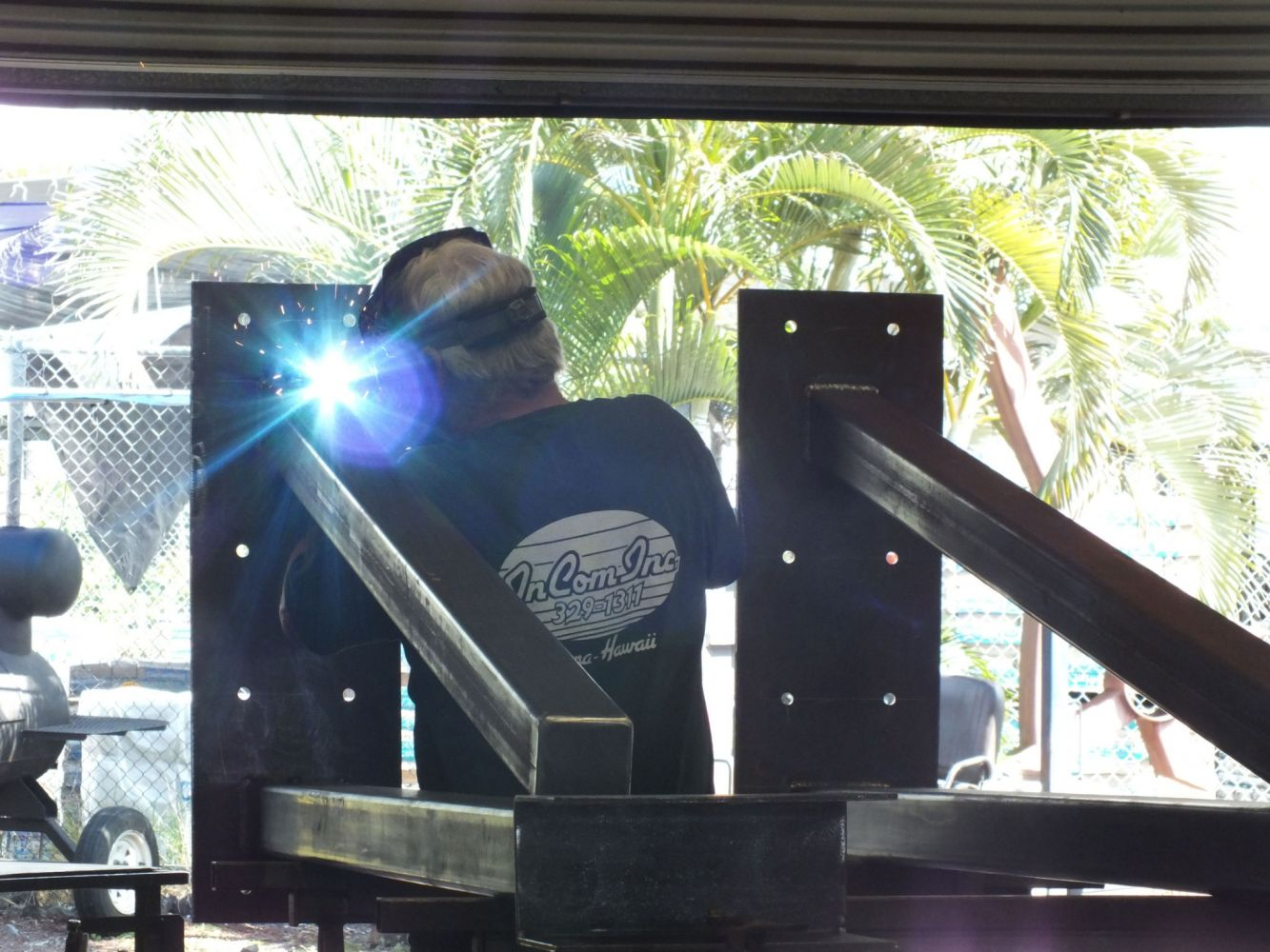One of our expert railing manufacturers at work in Kailua Kona, HI