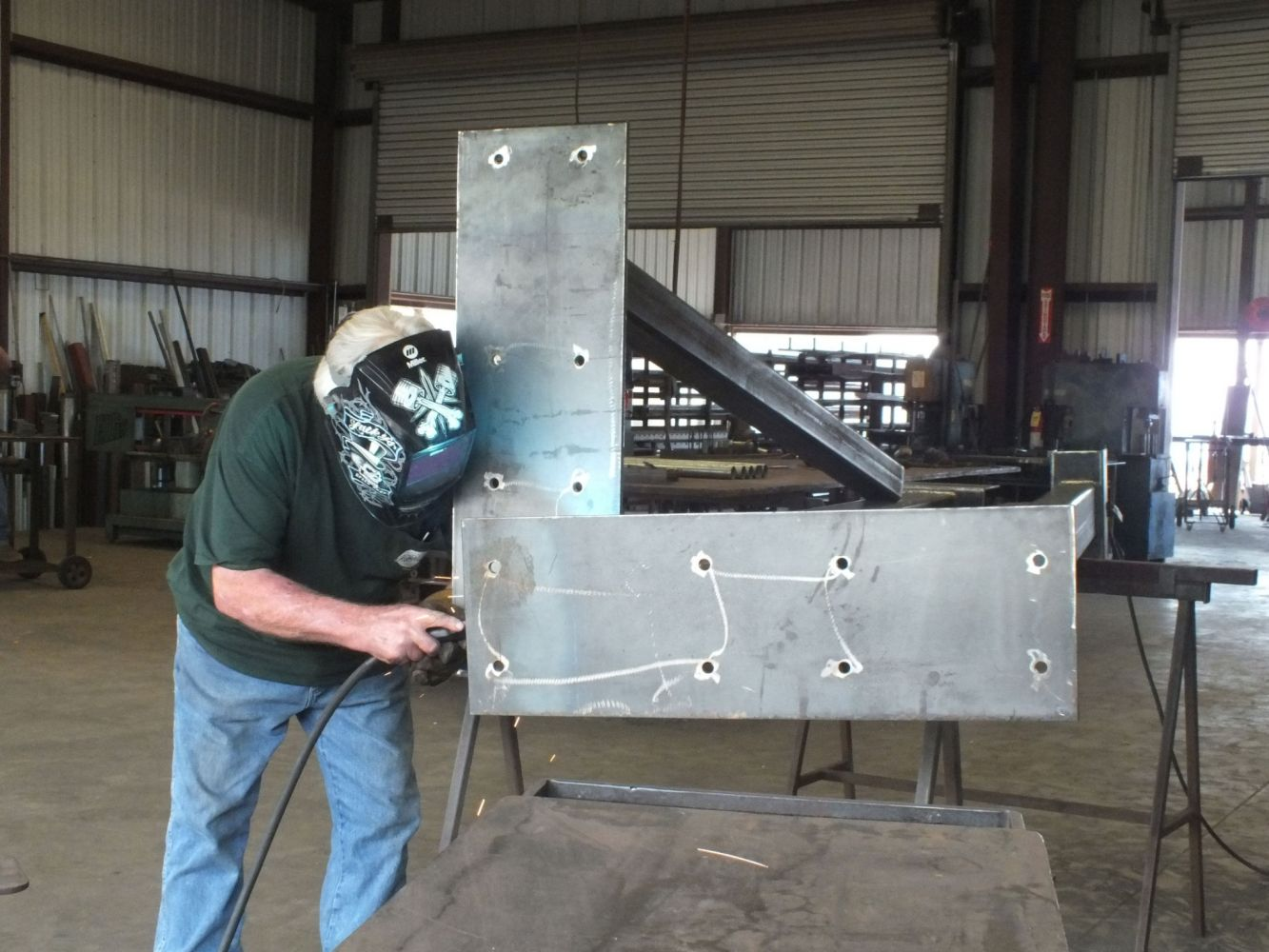 One of our experts working on a steel fabrication project