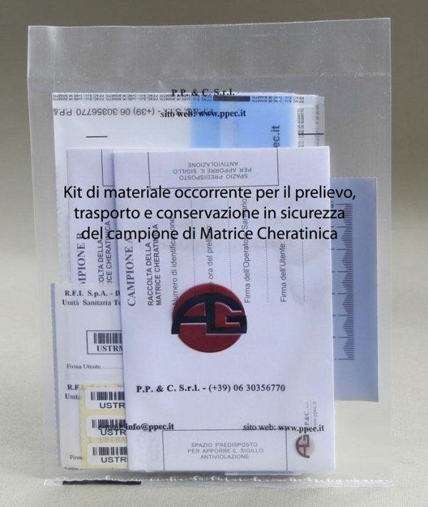 Kit di materiale occorrente per il prelievo, trasporto e conservazione in sicurezza del campione di Matrice Cheratinica (capelli, peli, ecc.)