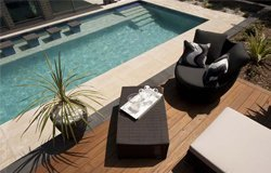 timber deck by pool