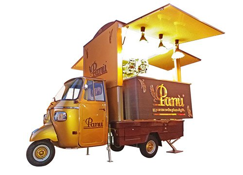 Apecar modificata in food truck