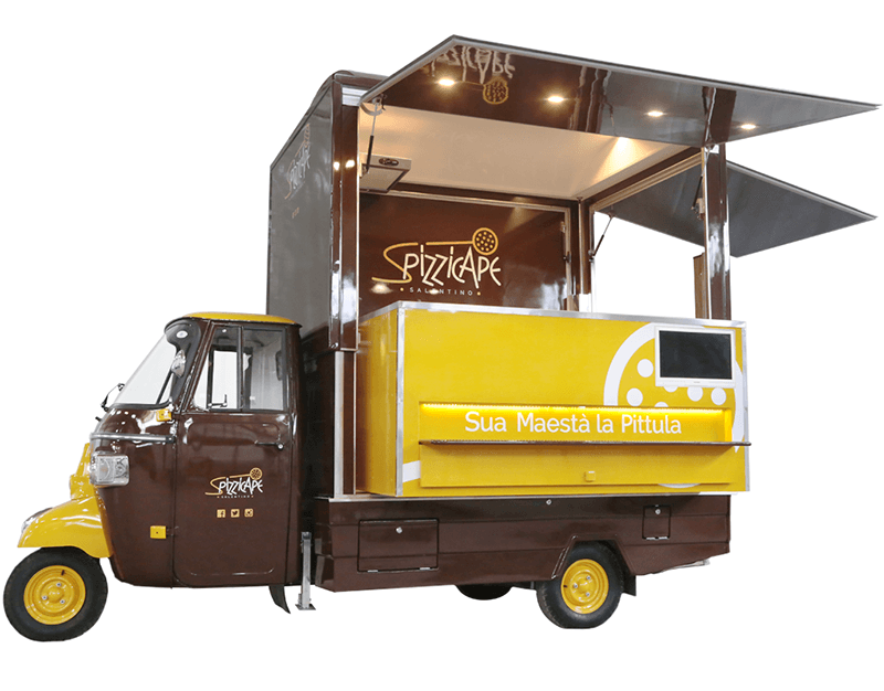 Un'Apecar trasformata in food truck