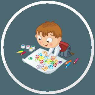 A child draws