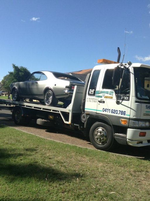 towing silver car