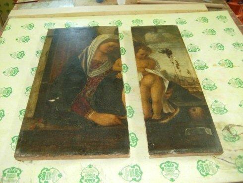 restauro quadri antichi, unione quadri rotti, rifiniture qusdri