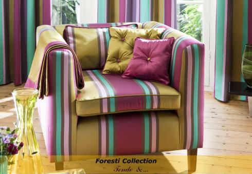 Foresti Collection: Il meglio del gusto e della tradizione inglese. Tessuti Jaquard, sete ricamate, velluti uniti e rigati.