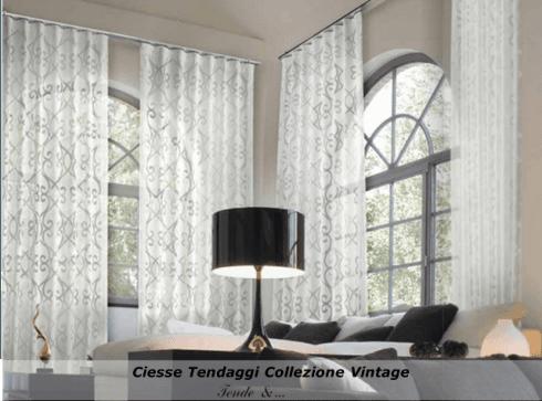 Ciesse Tendaggi- Collezione VINTAGE: fascinoso Devorè Lancè in lino puro di trama.