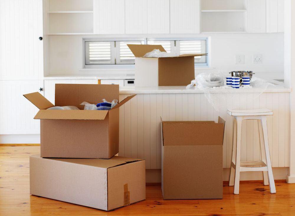 Boxes in a Hamilton home after removals by our team