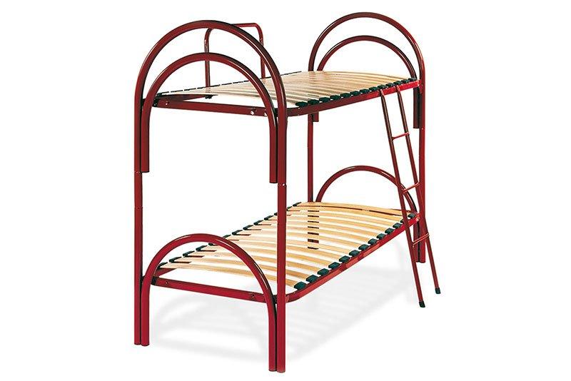 due reti a doghe di un letto singolo e uno matrimoniale in legno e ferro