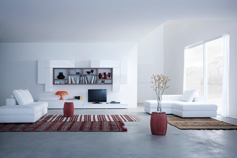 soggiorno con tappeto etnico