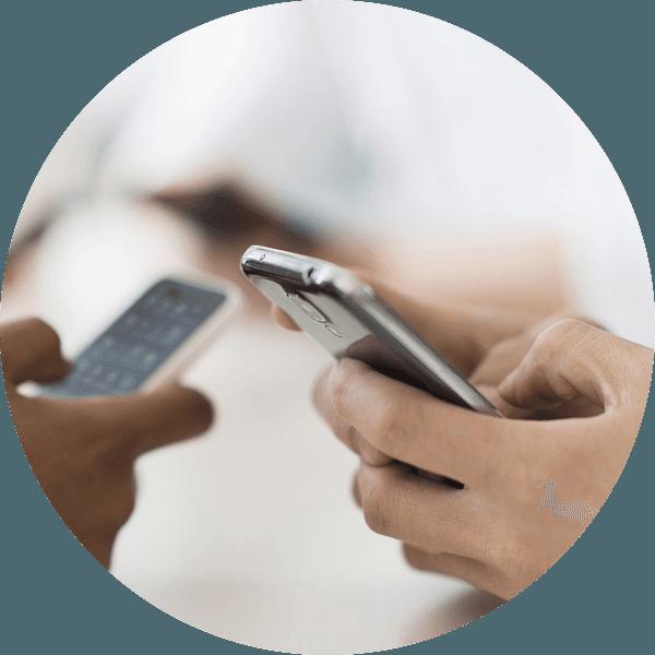 Individual using smartphones