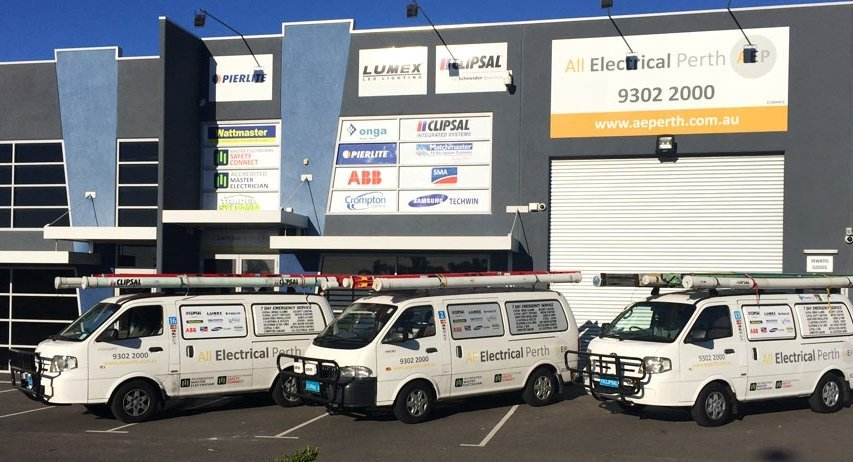 Trucks used for electrical repairs in Kingsley