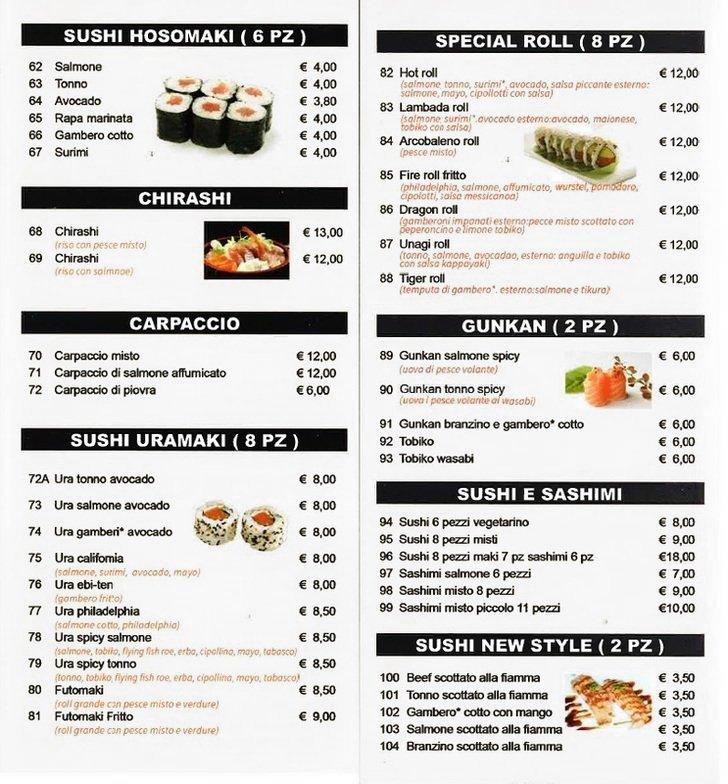 Menu Sushi restaurant New Mood a Brescia