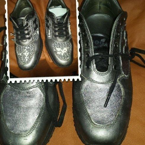 scarpe hogan cambio parte superiore tessuto con pelle