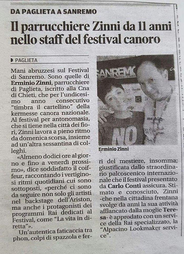 Articolo giornalistico sulla partecipazione del Parrucchiere Uomo - Donna Stile e Moda a Sanremo