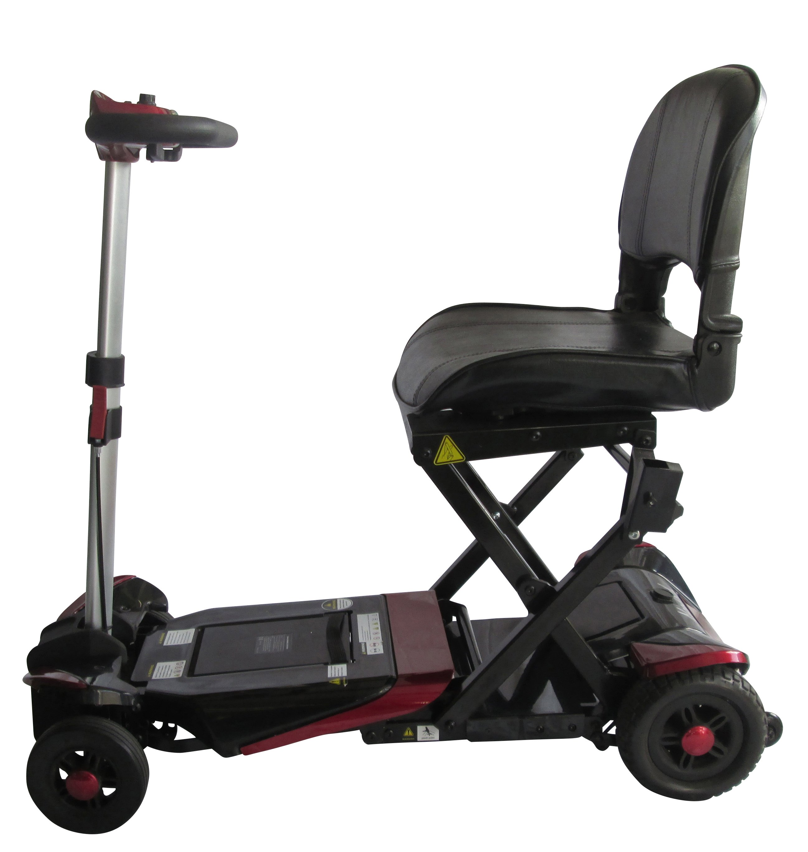 black coloured collapsible scooter with handle