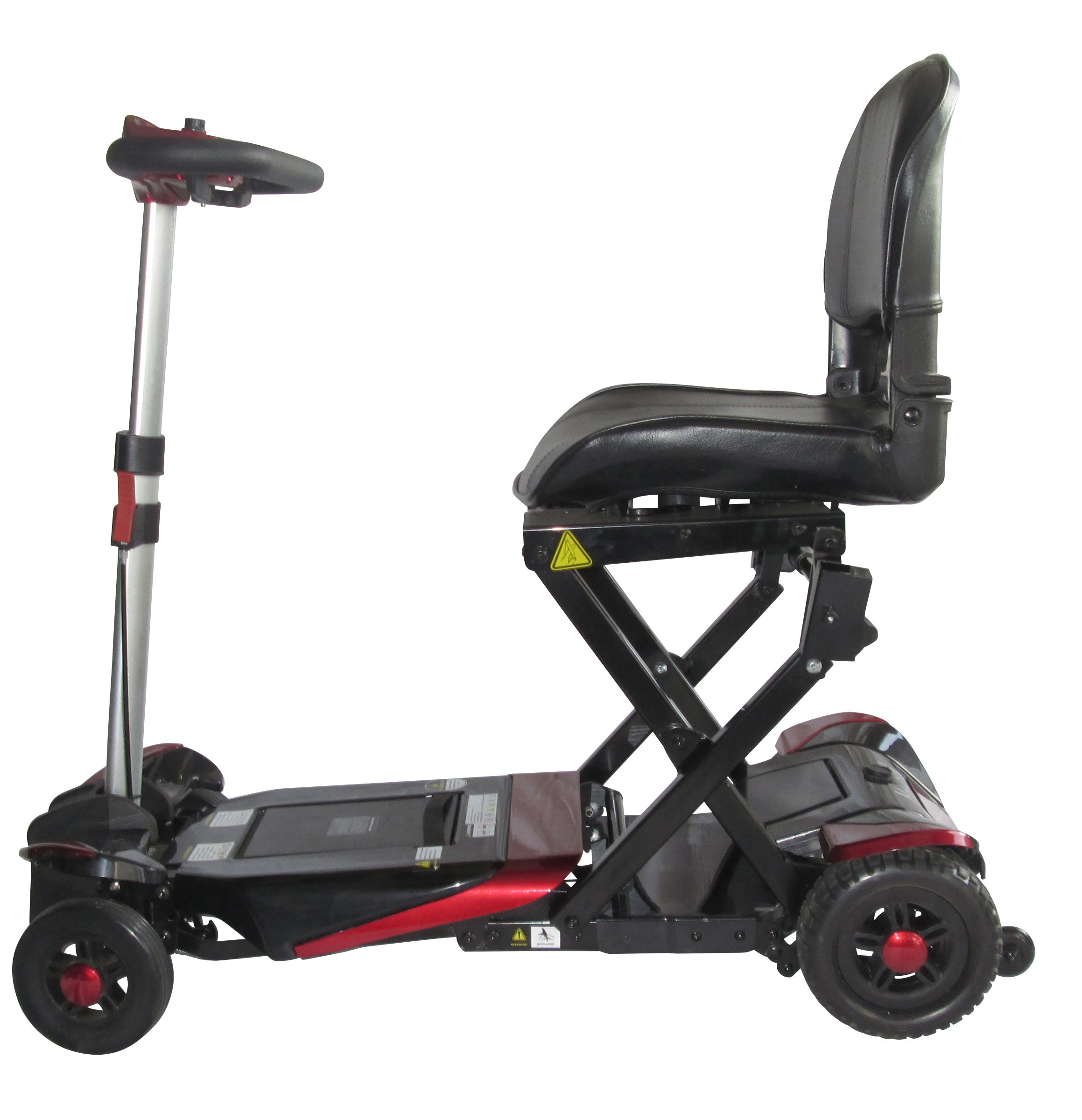 mobility scooter with black and red wheels