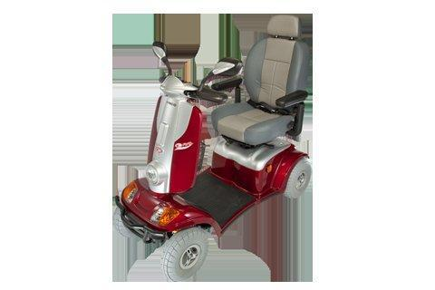 red and white coloured mobility scooter