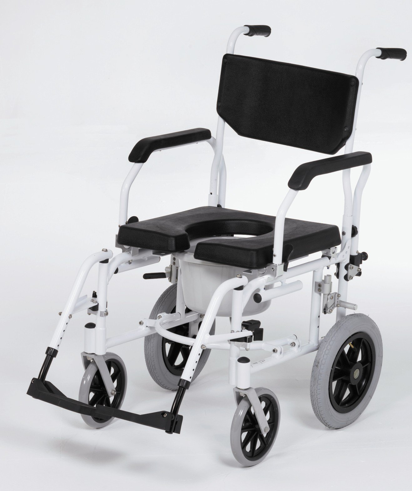 wheelchair with grey and black wheels