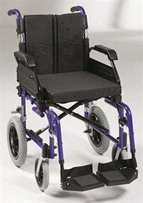 wheelchair with purple coloured body