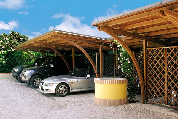 coperture in legno per parcheggi auto