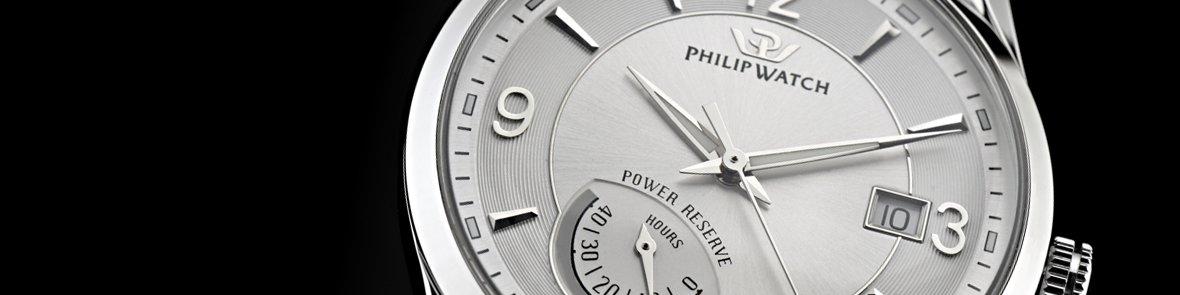 Primo piano di un elegante orologio di acciaio di marchio