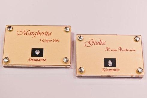 Carta d'identità dei diamanti personalizzate con nome ,data e evento