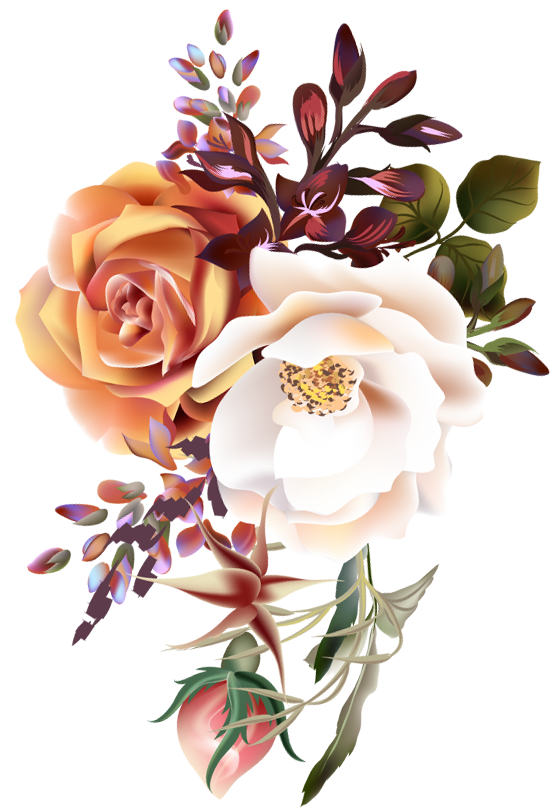 yellowish and white roses with leafs design