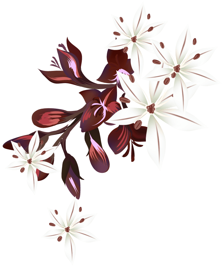 white flowers with purple leafs and herbs design