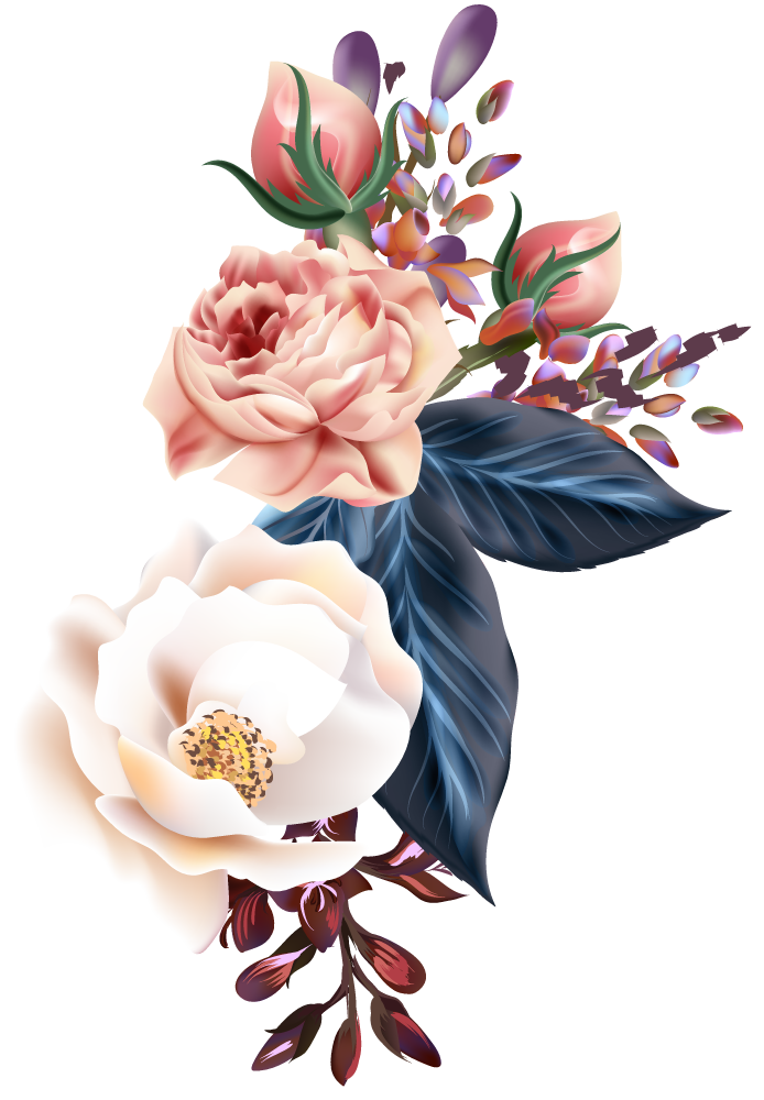 multi color roses, leafs and herbs design