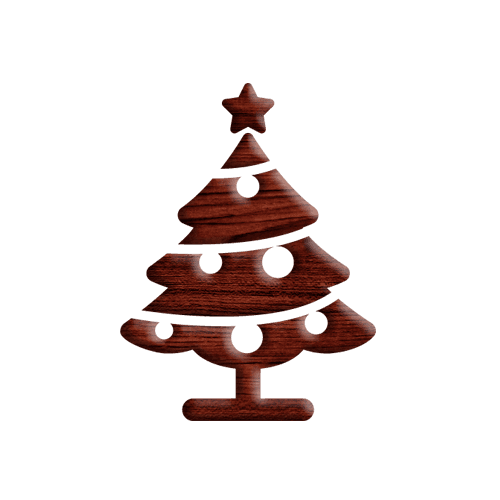 Christmas tree  wooden texture icon