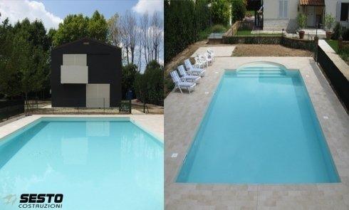 Vista della piscina da due prospettive opposte