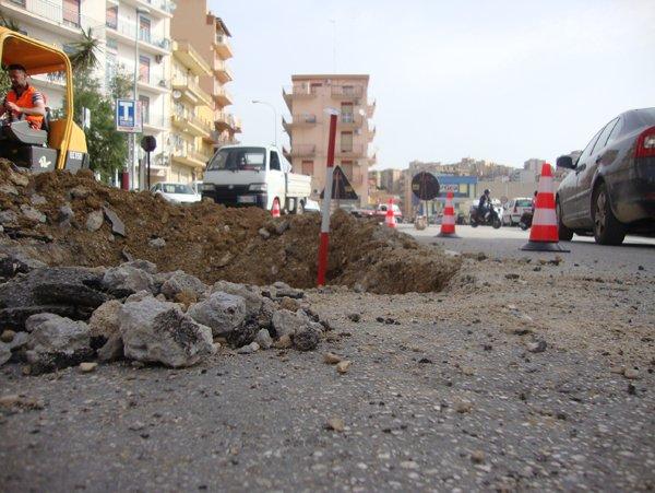 lavori in corso sulla strada