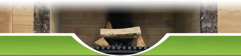 Unburnt wood in a fireplace