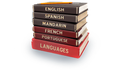 A stack of language dictionaries