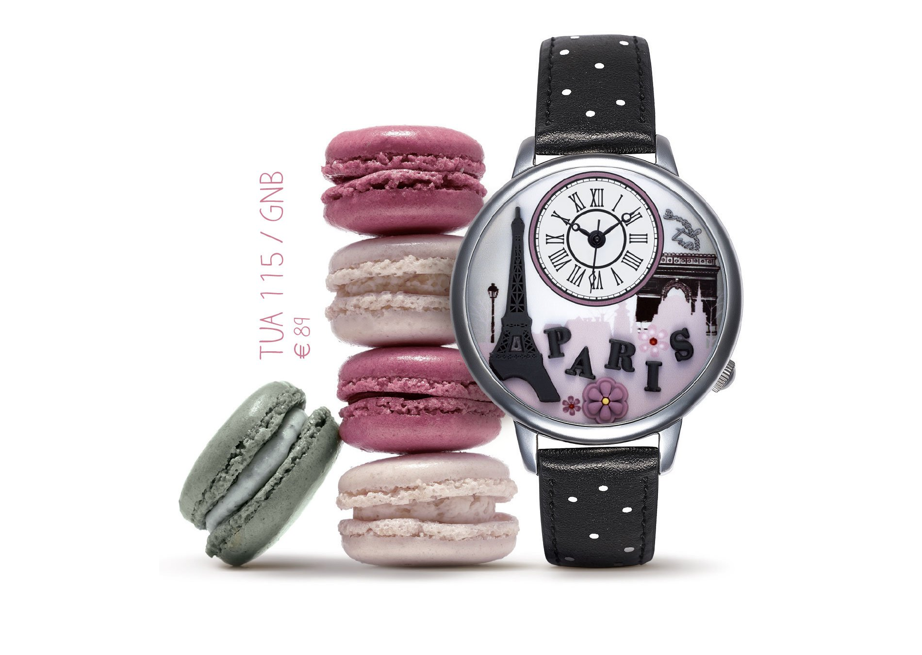 Orologio con cinturino nero con pois bianchi, riferimenti a Parigi e macarons di sfondo